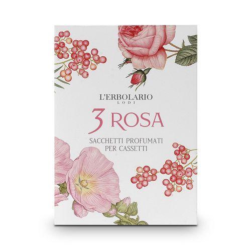 3 Rosa Sacchetto Profumato per cassetti di Erbolario